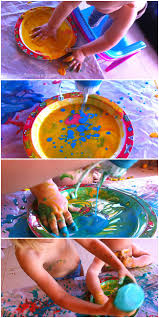 paint and squeeze bottle painting for kids art