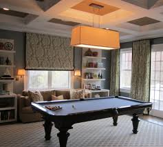 rustic pool table lights pool table room family room traditional with built in shelves