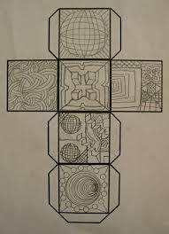 10 best images of op art cube template printable op art