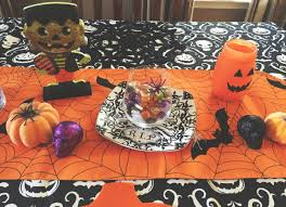 impressive halloween table decorations orange polyester tablecloth