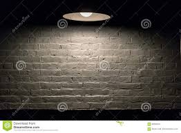 Overhead Lamp Texture Series White Brick Wall With Overhead Lamp Stock Photo