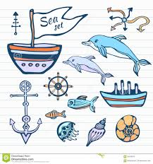 sea life sketch hand drawn doodle set nautical collection with
