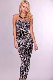 skin jumpsuit white leopard strapless skin belted jumpsuit jumpsuits