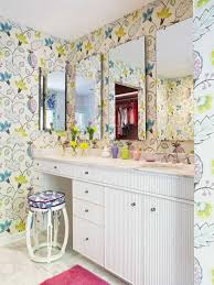 bathroom vanity decorating ideas decorating ideas for bathrooms with floral wallpaper and four
