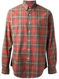 polo ralph lauren plaid shirt in red for men lyst