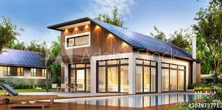 house with solar modern house with solar panels on the roof buy this stock