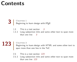 formatting pretty table of contents tex latex stack exchange