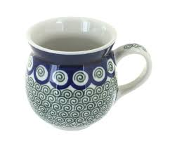 Peacock Mug Blue Rose Polish Pottery Peacock Swirl Bubble Mug