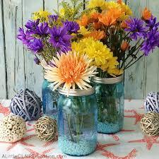 Mason Jar Flower Centerpieces Mother U0027s Day Flower Centerpiece Blue Ball Jar Giveaway A