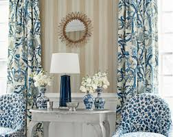 Blue And White Floral Curtains Peacock Drapery Etsy