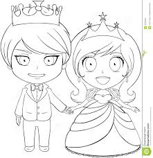 cute couples halloween costume prince and princess coloring page