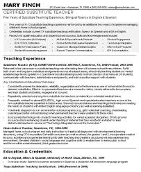 Bilingual Teacher Resume Samples by 2016 Substitute Teacher Resume Sample Recentresumes Com