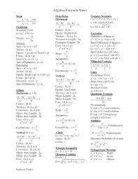algebra formula sheet printable homework cheat sheets