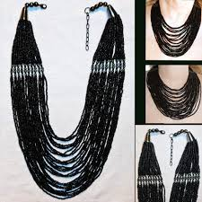 black bead necklace images Multi strand black glass bead necklace torsade gun metal accents jpg