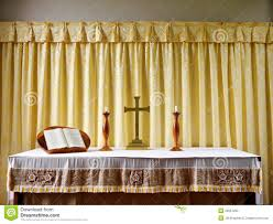 church simple modern altar with candles stock photography image