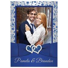 royal blue wedding invitations photo template wedding invitation royal blue silver gray floral