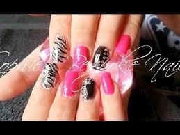 acrylic nails l pink black bling l nail design youtube