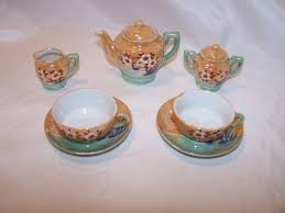 vintage tea set miniature tea set lusterware japan vintage