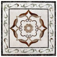 polished square waterjet marble floor medallion tile inlay