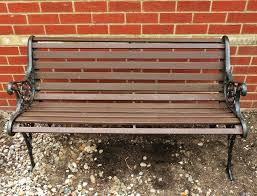 Wrought Iron Bench Wood Slats Double Seater Garden Bench Chair Seat Wooden Slat Frame