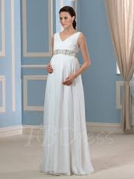 Maternity Wedding Dress V Neck Beading Empire Waist 30d Chiffon Maternity Wedding Dress