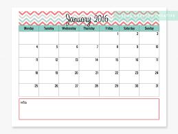 2016 printable calendar chevron