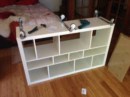 Expedit Bookshelves by Furniture White Ikea Expedit Bookcase With Wheels On Wooden Floor