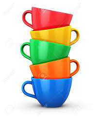 Porcelain Coffee Mugs Pile From Color Porcelain Coffee Cups Or Drink Mugs Isolated