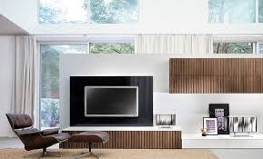 Modern Wall Unit Living Room Open Air Spacious Room With White Divider Combine