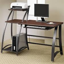 modern home office desk with dark brown color of table top and