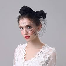 lace headwear classic black ivory bow fascinator hat hairpin wedding veil