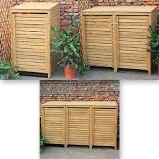 Patio Storage Chest by Woodside Wooden Outdoor Wheelie Bin Cover Storage Cupboard
