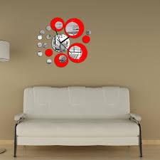 ybc fashion stereo round mirror wall clock homen decoration black image