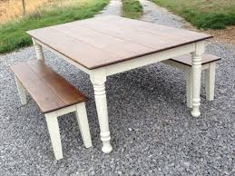 farmhouse table with bench and chairs best farmhouse kitchen table with bench with 22 pictures home devotee