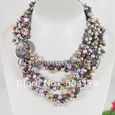 beaded pearl necklace images Multicolor bridesmaid gift pearl necklace handmade 3 rows jpg