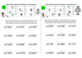 long division y6 differentiated challenges inc missing digits