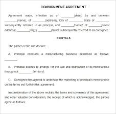 consignment contract template 4 free word pdf documents