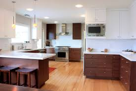 astounding brown color walnut kitchen cabinets featuring wall