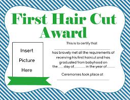 free first hair cut award printables