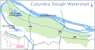 Portland Oregon On Map by Columbia Slough Watershed The City Of Portland Oregon