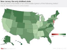 New Jersey Map Yougov New Jersey The Least Liked State In America
