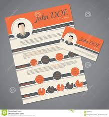 Resume Vector Resume Cv Template With Business Card Stock Vector Image 58394913