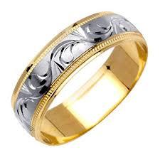 carved wedding bands 14k two tone solid gold design carved wedding ring