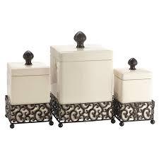 beige fleur de lis ceramic kitchen canisters set 3 by fleur de lis living tessa 3 piece kitchen canister set reviews