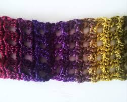 shades of purples striped crochet infinity scarf long circle scarf in shades of