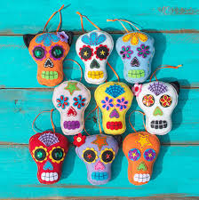 day of the dead felt sugar skull ornaments assorted set of 9