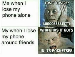 Gollum Meme - gollum loses his phone funny lord of the rings my precious
