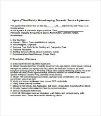 Sample Resume For Nanny Housekeeper by Housekeeper Contract Sample In House To Contract Performance