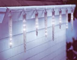 icicle christmas lights set of 10 clear led icicle christmas lights white wire