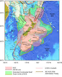 New Zealand Map Map Of The Continental Shelf Boundary Land Information New